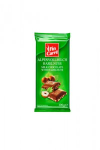 Lidl Fin Carré Alpenvollmilch Haselnuss, Milk Chocolate with Hazelnuts