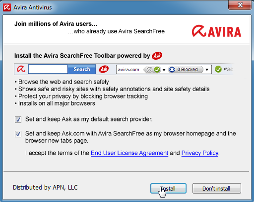 Avira SearchFree Ask.com Toolbar