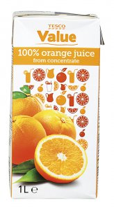 Tesco value 100% orange juice