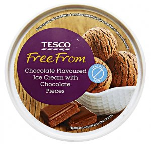 Tesco Free From Chocolate Flavoured Ice Cream with Chocolate Pieces